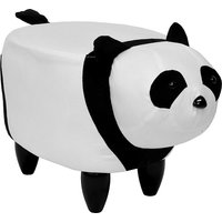 Product photograph showing Panda Shaped Pouffe In White And Black Finish