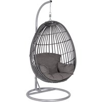 Product photograph showing Paneya Synthetic Rattan Hanging Swing Chair In Earl Grey