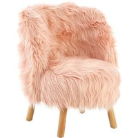 Product photograph showing Panton Childrens Chair In Pink Faux Fur With Wooden Legs
