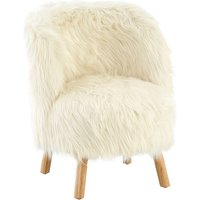 Product photograph showing Panton Childrens Chair In White Faux Fur With Wooden Legs