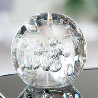 Product photograph showing Paperweight Glass Ball Design Sculpture In Clear