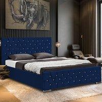 Papillion Plush Velvet Single Bed In Blue