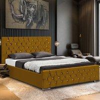 Papillion Plush Velvet Single Bed In Mustard