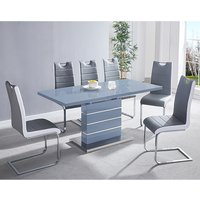 Product photograph showing Parini Extending Grey Gloss Dining Set With 6 Grey Petra Chairs