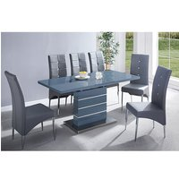 Product photograph showing Parini Extending Grey Gloss Dining Set With 6 Grey Vesta Chairs