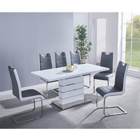 Product photograph showing Parini Extending White Gloss Dining Set With 6 Grey White Chairs