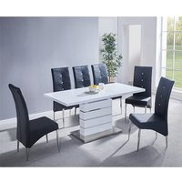 Product photograph showing Parini Extending White Gloss Dining Set With 6 Black Chairs