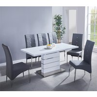 Product photograph showing Parini Extending White Gloss Dining Set With 6 Grey Chairs