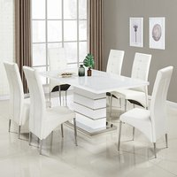 Product photograph showing Parini Large Extendable Dining Set In White Gloss 6 Vesta Chair