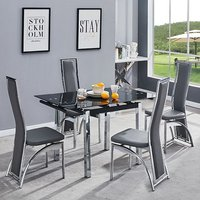 Product photograph showing Paris Extending Glass Dining Table With 4 Chicago Grey Chairs