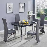 Product photograph showing Paris Extending Glass Dining Table 4 Grey Ravenna Dining Chairs