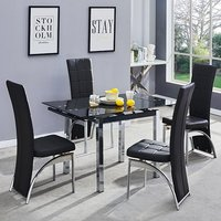 Product photograph showing Paris Extending Glass Dining Table 4 Black Ravenna Dining Chairs