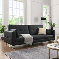 Product photograph showing Paris Faux Leather 3 Seater Sofa Bed In Black