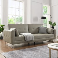 Product photograph showing Paris Faux Leather 3 Seater Sofa Bed In Grey