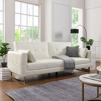 Product photograph showing Paris Faux Leather 3 Seater Sofa Bed In White