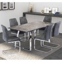 Paris Grey Glass Dining Set With With 6 Capri Chairs