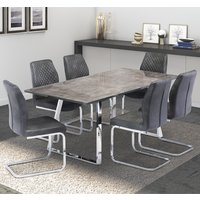 Product photograph showing Paris Grey Glass Top Dining Table With 6 Capri Grey Chairs
