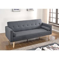 Product photograph showing Paris Linen Fabric Sofa Bed In Dark Grey