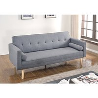 Product photograph showing Paris Linen Fabric Sofa Bed In Light Grey