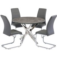 Product photograph showing Paris Round Grey Glass Dining Table With 4 Soho Grey Chairs