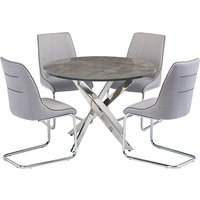 Product photograph showing Paris Round Wooden Dining Table 4 Langham Grey Fabric Chairs