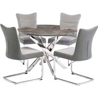 Product photograph showing Paris Round Wooden Dining Table With 4 Pasadena Grey Chairs