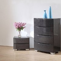 Parker Bedside Cabinet In Grey High Gloss With 2 Drawers