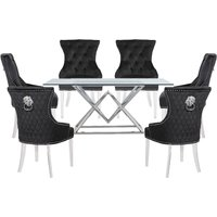 Parma Clear Glass Dining Set With 6 Black Madison Chairs