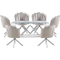 Parma Clear Glass Dining Set With 6 Beige Mario Chairs