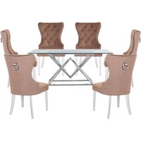 Parma Clear Glass Dining Set With 6 Brown Oxford Chairs