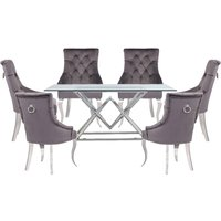 Parma Clear Glass Dining Set With 6 Dark Grey Angelo Chairs