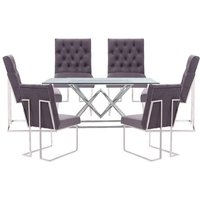 Parma Clear Glass Dining Set With 6 Dark Grey Dino Chairs