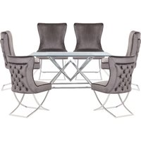 Parma Clear Glass Dining Set With 6 Dark Grey Cavalli Chairs