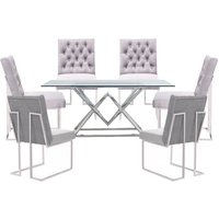 Parma Clear Glass Dining Set With 6 Grey Dino Chairs