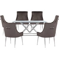 Parma Clear Glass Dining Set With 6 Grey Jersey Chairs