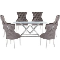 Parma Clear Glass Dining Set With 6 Grey Madison Chairs