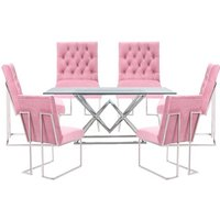 Parma Clear Glass Dining Set With 6 Pink Dino Chairs