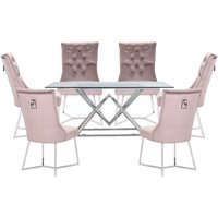 Parma Clear Glass Dining Set With 6 Taupe Bari Chairs