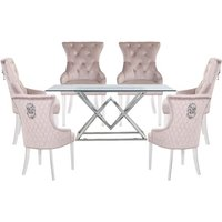Parma Clear Glass Dining Set With 6 Taupe Madison Chairs