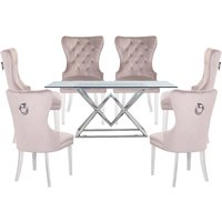 Parma Clear Glass Dining Set With 6 Taupe Oxford Chairs