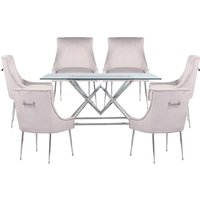 Parma Clear Glass Dining Set With 6 White Jersey Chairs