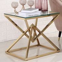 Product photograph showing Parma Clear Glass Side Table With Gold Stainless Steel Legs