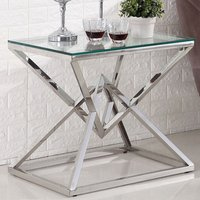 Product photograph showing Parma Clear Glass Side Table With Silver Stainless Steel Legs