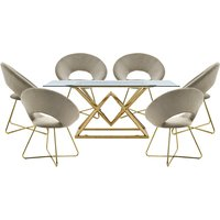 Parma Glass Dining Set In Gold Base With 6 Beige Barclay