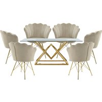 Parma Glass Dining Set In Gold Base With 6 Beige Conrad Chai