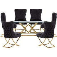 Parma Glass Dining Set In Gold Base With 6 Black Lorenzo Cha