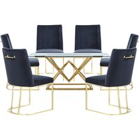 Parma Glass Dining Set In Gold Base With 6 Black Milo Chairs