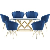 Parma Glass Dining Set In Gold Base With 6 Blue Conrad
