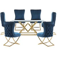 Parma Glass Dining Set In Gold Base With 6 Blue Lorenzo Chairs
