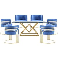 Parma Glass Dining Set In Gold Base With 6 Blue Lula Chairs